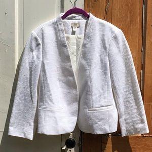 Loft white textured blazer Size 16